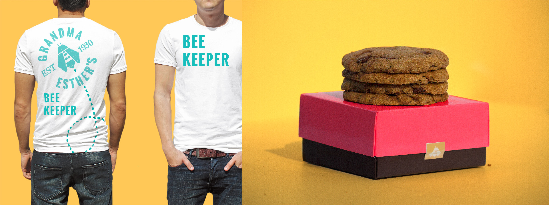 Apparel for Bee Keeper Brand advocates and packaging for baked organic products