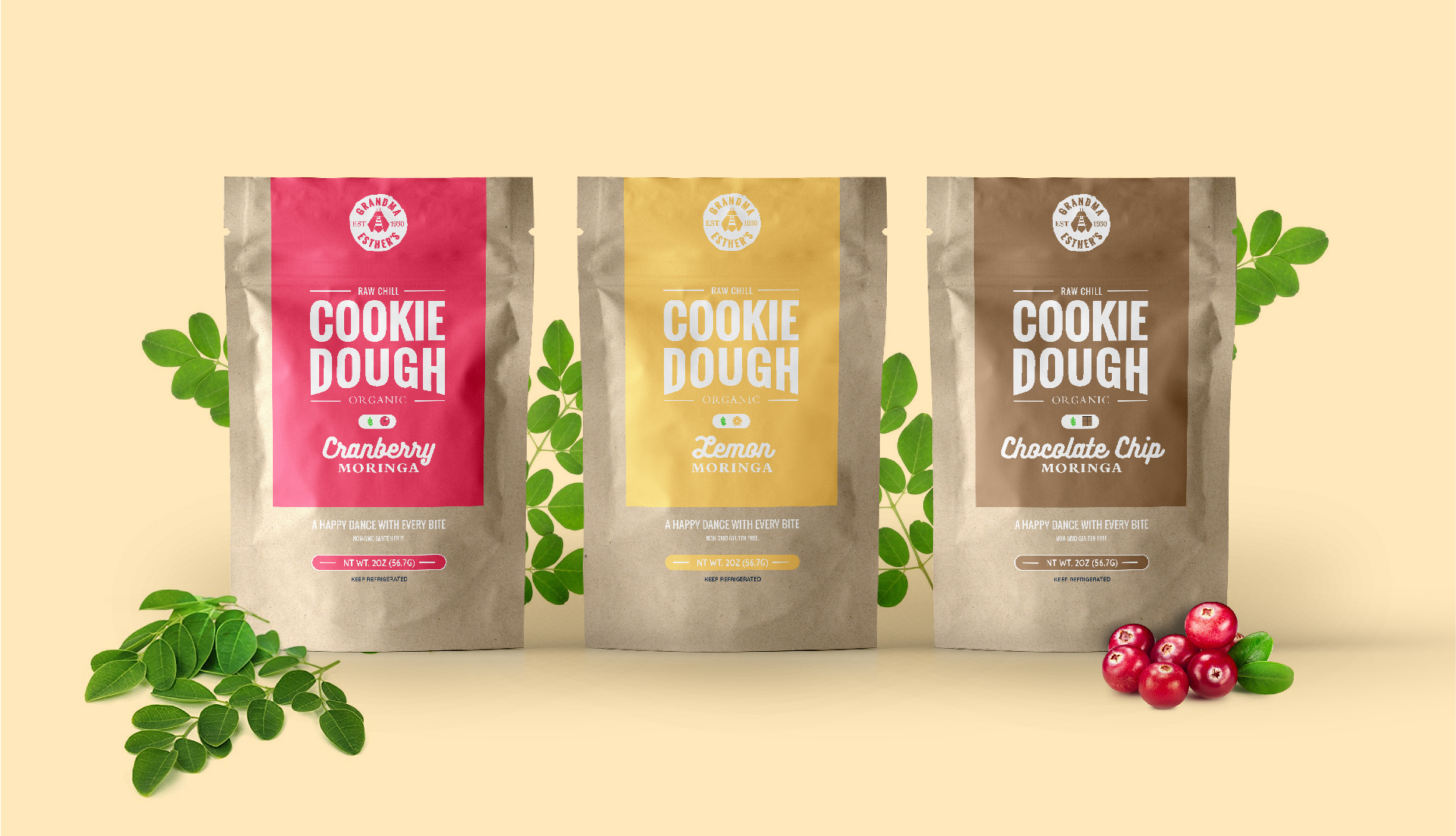 Raw Cookie Dough Organic Brand Packaging Design