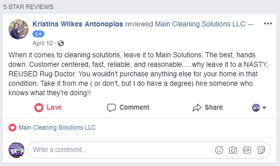 Main Cleaning - Facebook Reviews