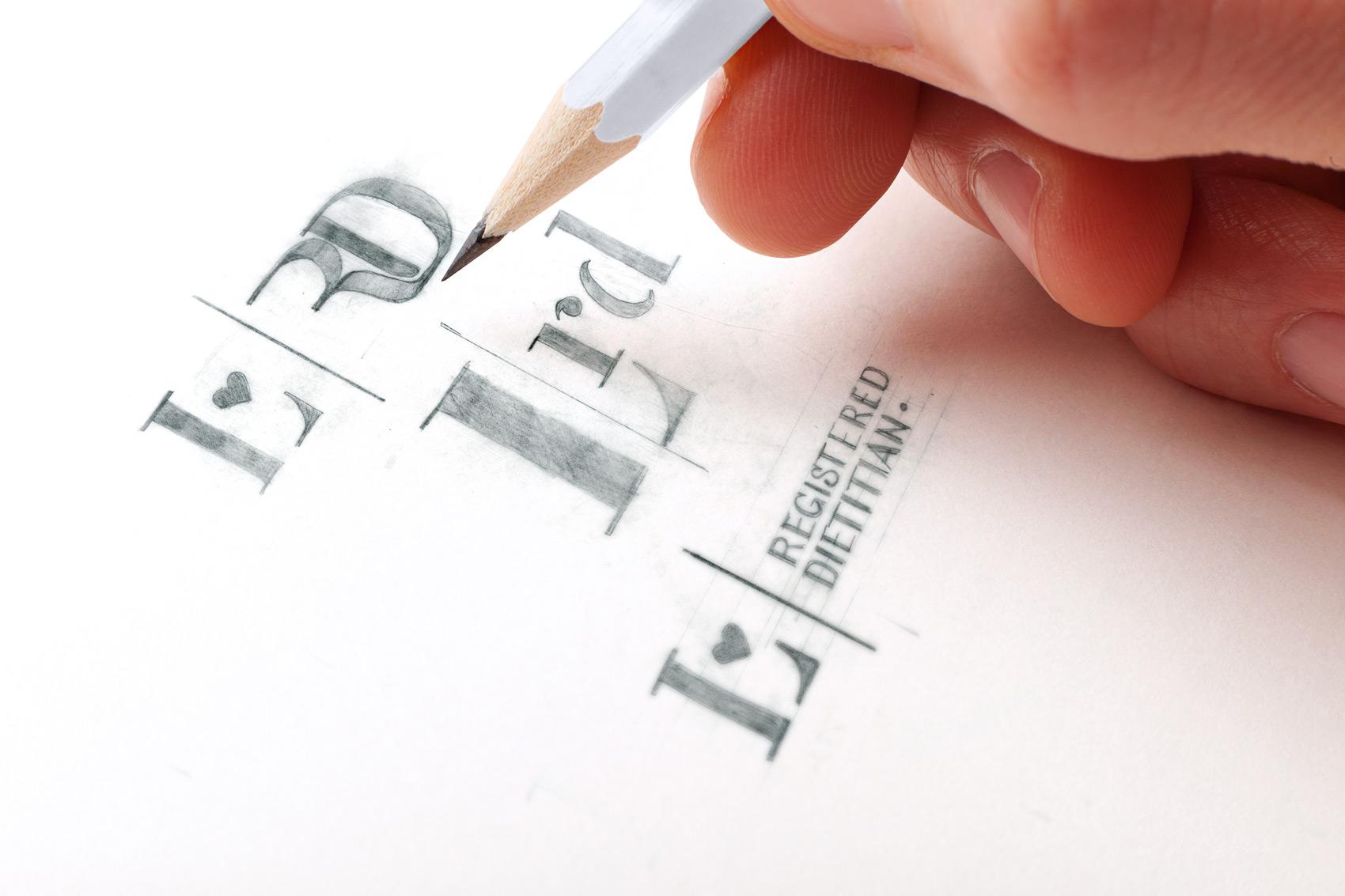 LRD Logo Design Process sketch